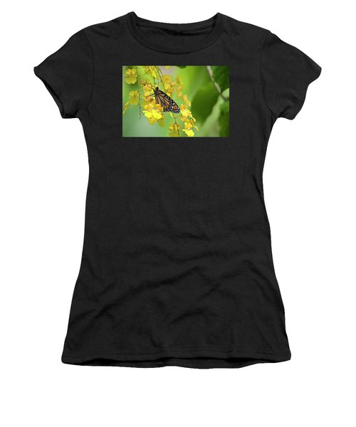 Monarch Butterfly On Yellow Orchids Women's T-Shirt