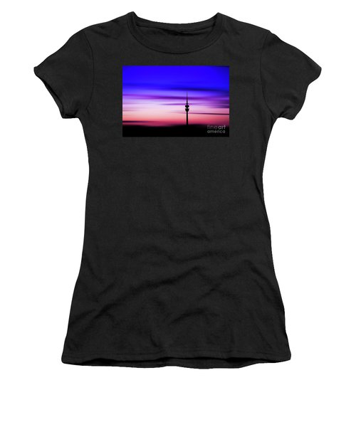 Women's T-Shirt (Junior Cut) featuring the photograph Munich - Olympiaturm At Sunset by Hannes Cmarits