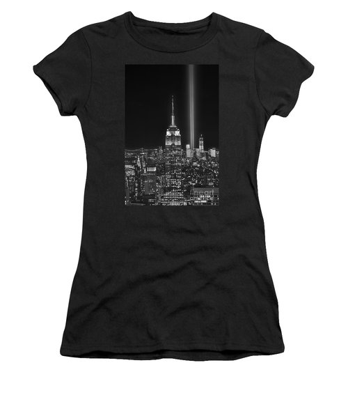 New York City Tribute In Lights Empire State Building Manhattan At Night Nyc Women's T-Shirt (Junior Cut) by Jon Holiday