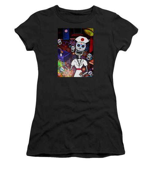 Nurse Dia De Los Muertos  Women's T-Shirt (Athletic Fit)