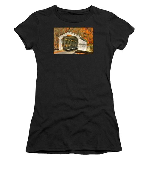Pa Country Roads - Knox Covered Bridge Over Valley Creek No. 2a - Valley Forge Park Chester County Women's T-Shirt (Athletic Fit)