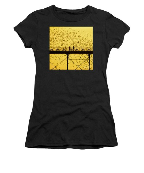 People On The Pier Sunset And Starlings In Aberystwyth Wales Women's T-Shirt