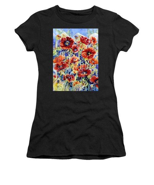 Picket Fence Poppies Women's T-Shirt