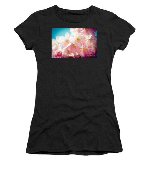 Pink Cherry Blossoms Closeup Women's T-Shirt