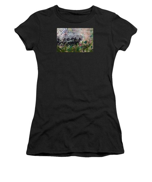 Women's T-Shirt (Junior Cut) featuring the painting Ponies by Ron Richard Baviello
