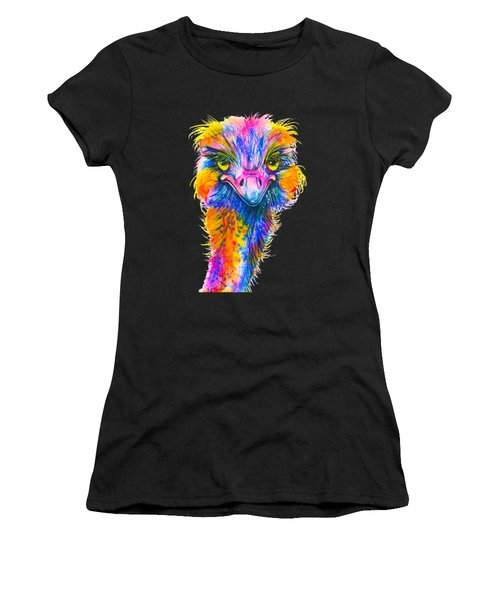 Rainbow Ostrich  Women's T-Shirt (Athletic Fit)