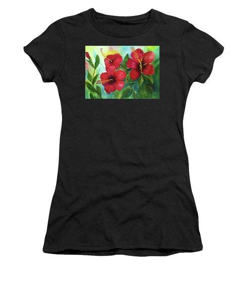 Red Hibiscus Women's T-Shirt