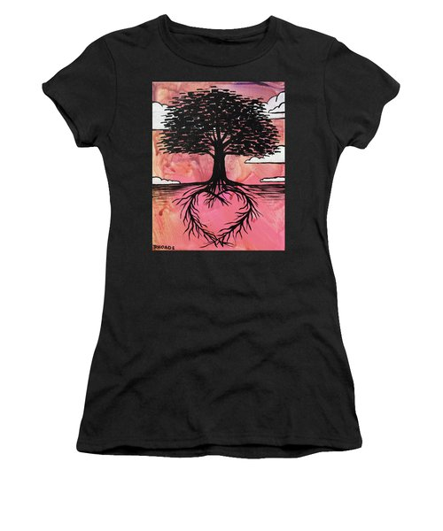 Women's T-Shirt (Athletic Fit) featuring the painting Rooted In Love by Nathan Rhoads