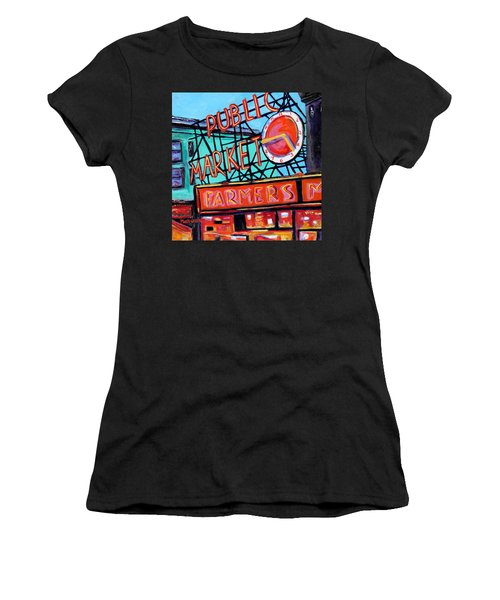 Women's T-Shirt (Junior Cut) featuring the painting Seattle Public Market by Marti Green