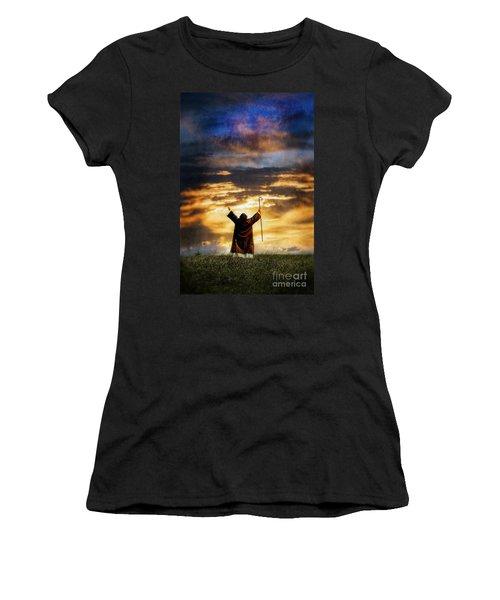 Shepherd Arms Up In Praise Women's T-Shirt (Junior Cut) by Jill Battaglia