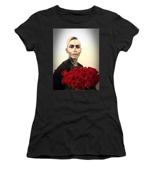 Skull Tux And Roses Women's T-Shirt (Junior Cut) by Kent Chua