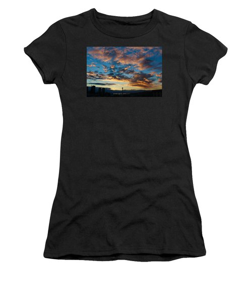 Space Needle In Clouds Women's T-Shirt (Athletic Fit)