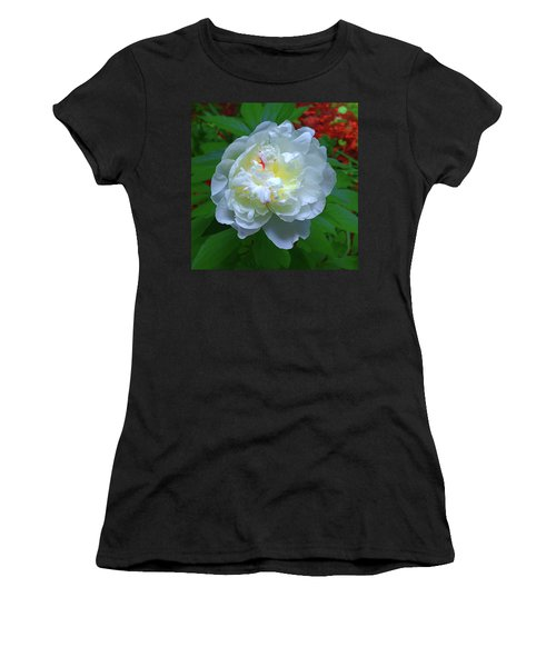 Women's T-Shirt (Athletic Fit) featuring the photograph Spring Peony by Roger Bester