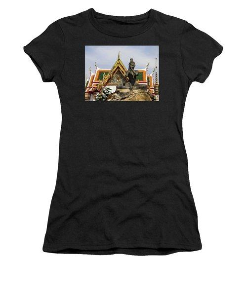 Statue At Famous Wat Pho Temple Women's T-Shirt (Athletic Fit)