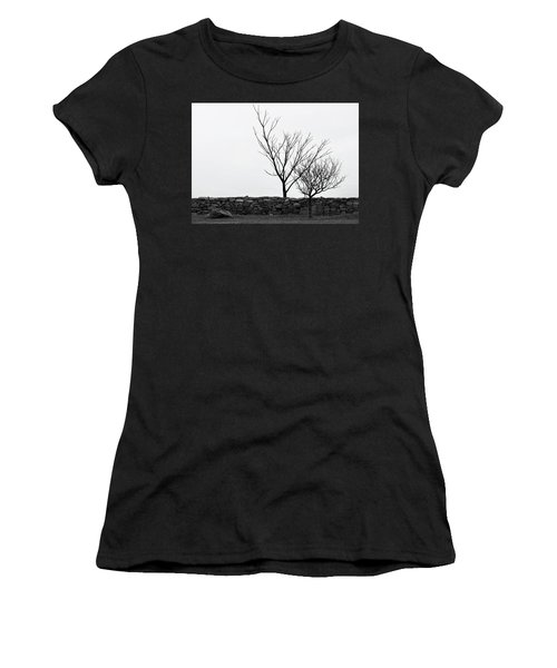 Stone Wall With Trees In Winter Women's T-Shirt