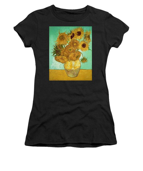 Sunflowers By Van Gogh Women's T-Shirt (Athletic Fit)