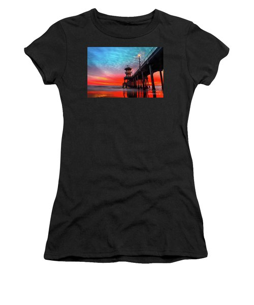 Sunset At Huntington Beach Pier Women's T-Shirt (Athletic Fit)