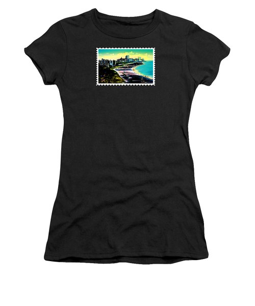 Surreal Colors Of Miami Beach Florida Women's T-Shirt (Junior Cut) by Elaine Plesser