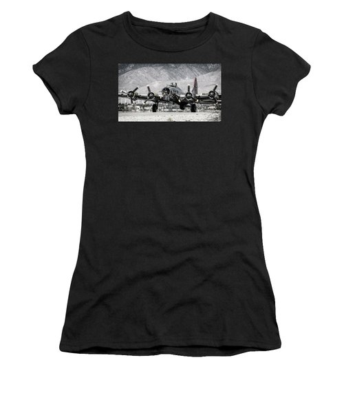 B-17 Bomber Madras Maiden  Women's T-Shirt (Athletic Fit)