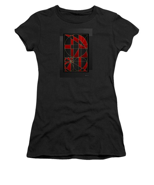 The Alchemy - Divine Proportions - Red On Black Women's T-Shirt (Junior Cut) by Serge Averbukh