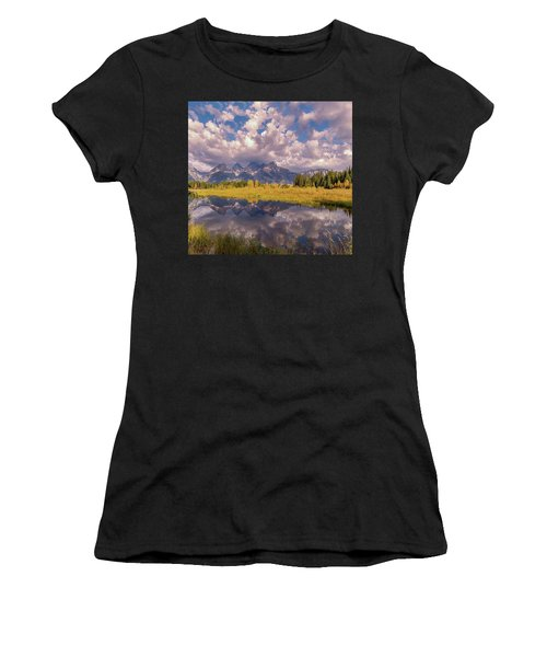 Women's T-Shirt (Athletic Fit) featuring the photograph The Grand Tetons National Park Autumn Olena Art Fall Colors Photography by OLena Art Brand