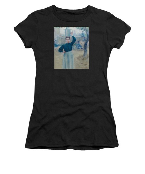 The Little Village Girl With Red Carnation Women's T-Shirt (Athletic Fit)