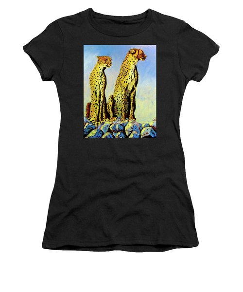 Two Cheetahs Women's T-Shirt (Athletic Fit)