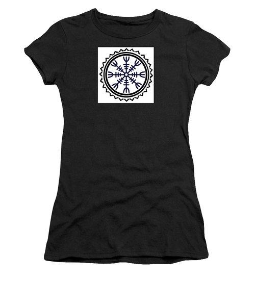 Women's T-Shirt (Athletic Fit) featuring the digital art Viking Helm Of Awe by Vagabond Folk Art - Virginia Vivier