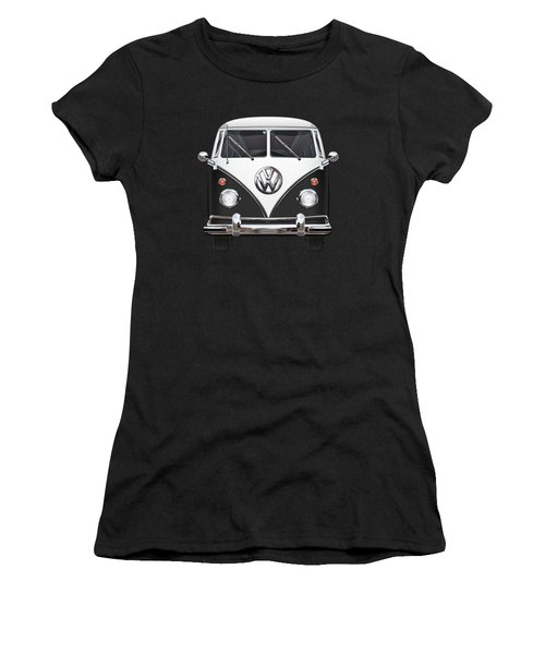 Volkswagen Type 2 - Black And White Volkswagen T 1 Samba Bus On Red  Women's T-Shirt