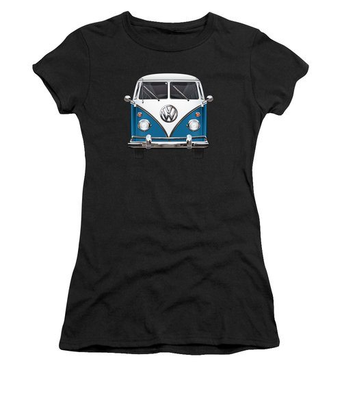 Volkswagen Type 2 - Blue And White Volkswagen T 1 Samba Bus Over Orange Canvas  Women's T-Shirt