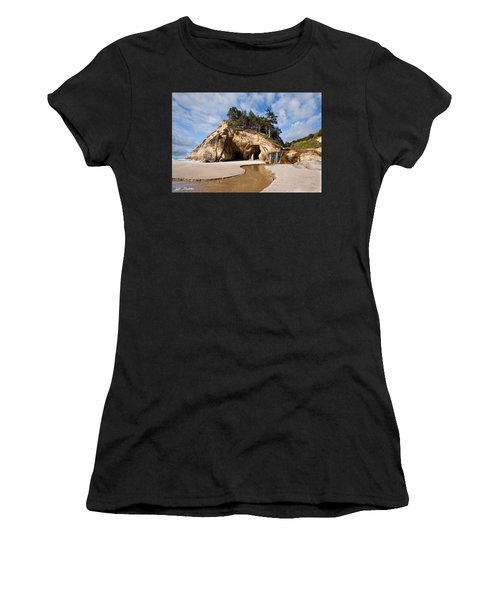 Waterfall Flowing Into The Pacific Ocean Women's T-Shirt