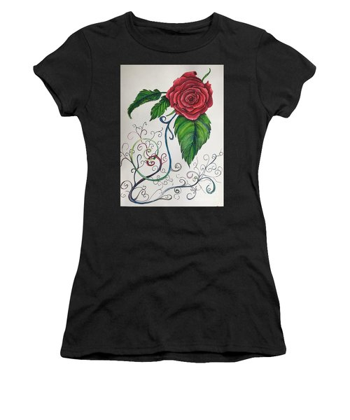 Whimsical Red Rose Women's T-Shirt (Athletic Fit)
