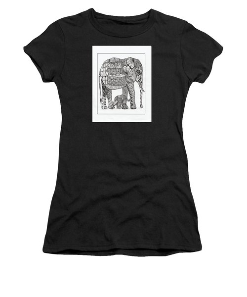 White Elephant And Baby Women's T-Shirt (Athletic Fit)