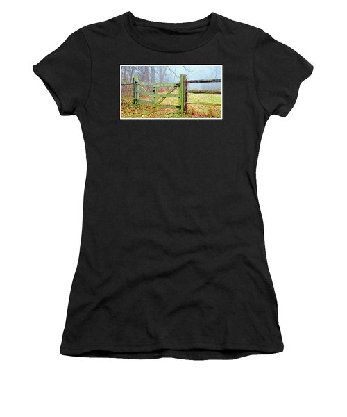 Wooden Fence On A Foggy Morning Women's T-Shirt