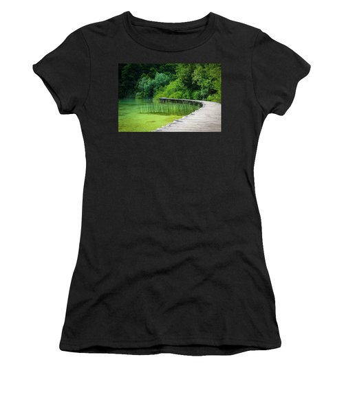 Wooden Path In The Forest Women's T-Shirt (Athletic Fit)