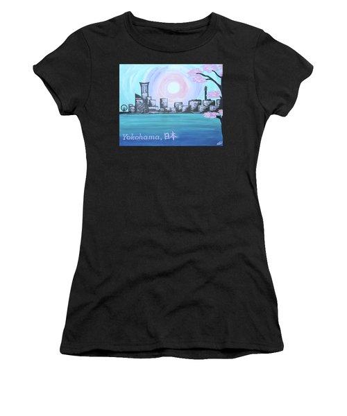 Yokohama Skyline Women's T-Shirt (Junior Cut) by Cyrionna The Cyerial Artist