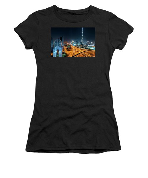 Amazing Night Dubai Downtown Skyline, Dubai, United Arab Emirates Women's T-Shirt (Athletic Fit)