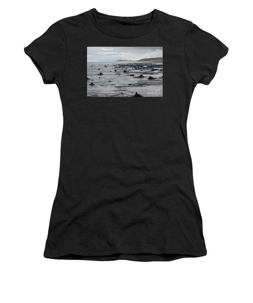 Bronze Age Sunken Forest At Borth On The West Wales Coast Uk Women's T-Shirt