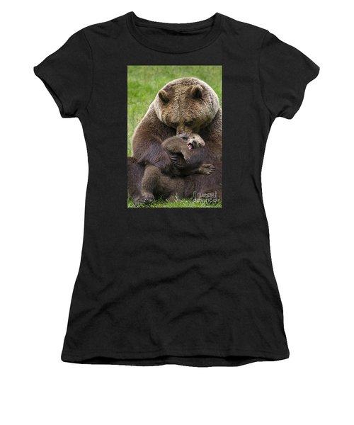 Mother Bear Cuddling Cub Women's T-Shirt