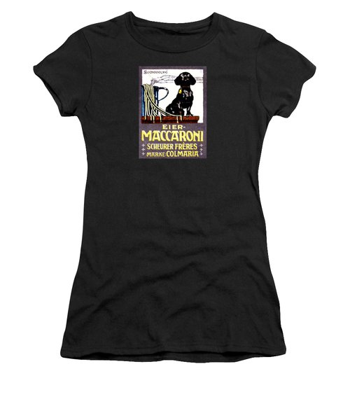 1910 Dachshund And Macaroni Poster    Women's T-Shirt (Junior Cut) by Historic Image