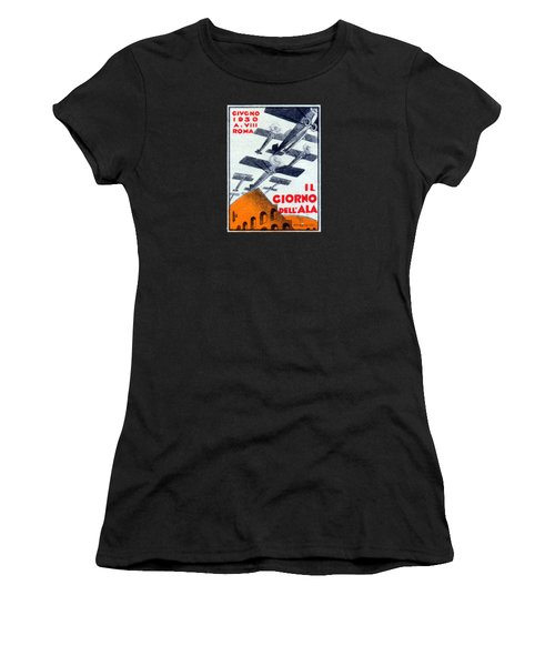 Women's T-Shirt (Junior Cut) featuring the painting 1930 Italian Air Show by Historic Image