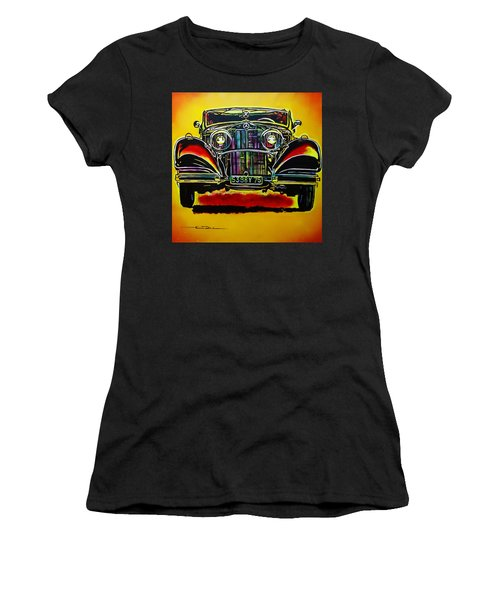Women's T-Shirt (Junior Cut) featuring the painting 1937 Mercedes Benz First Wheel Down by Eric Dee
