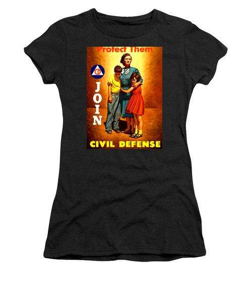 1942 Civil Defense Poster By Charles Coiner Women's T-Shirt (Athletic Fit)