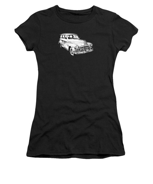 1948 Pontiac Silver Streak Woody Illustration Women's T-Shirt