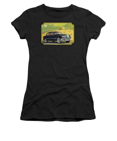 1950 Custom Ford Rustic Rural Country Farm Scene Americana Antique Car Watercolor Painting Women's T-Shirt