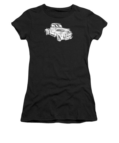 1951 Ford F-1 Pickup Truck Illustration  Women's T-Shirt (Athletic Fit)