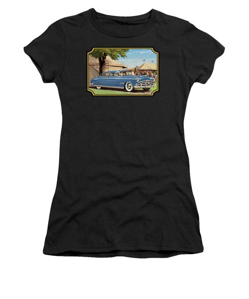1951 Hudson Hornet Fair Americana Antique Car Auto Nostalgic Rural Country Scene Landscape Painting Women's T-Shirt