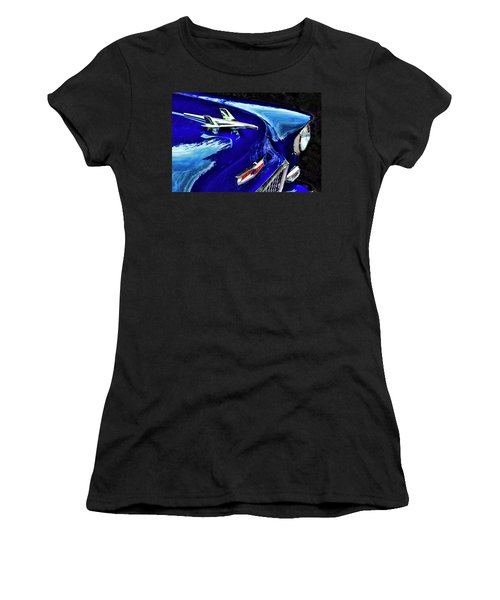 1955 Chevy Bel Air Hard Top - Blue Women's T-Shirt (Junior Cut) by Peggy Collins