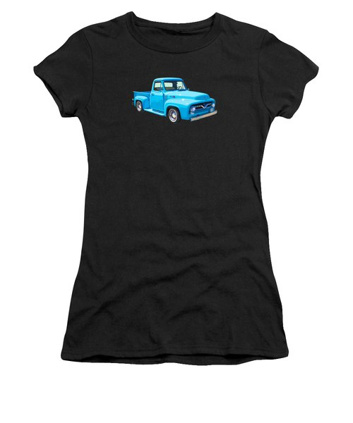 1955 Ford F100 Blue Pickup Truck Canvas Women's T-Shirt (Athletic Fit)