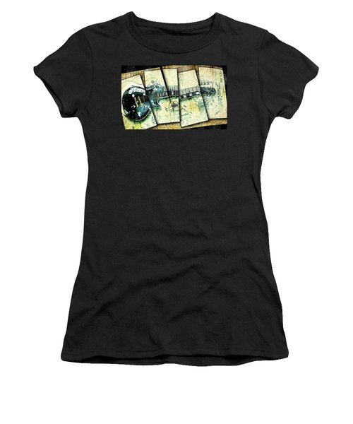 1955 Les Paul Custom Black Beauty V2 Women's T-Shirt (Junior Cut) by Gary Bodnar